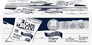 Cape Cod Potato Chips, Original Less Fat Kettle Cooked Chips, Snack Bags, Reduced Fat Original, 0.75 Oz (30 Count)
