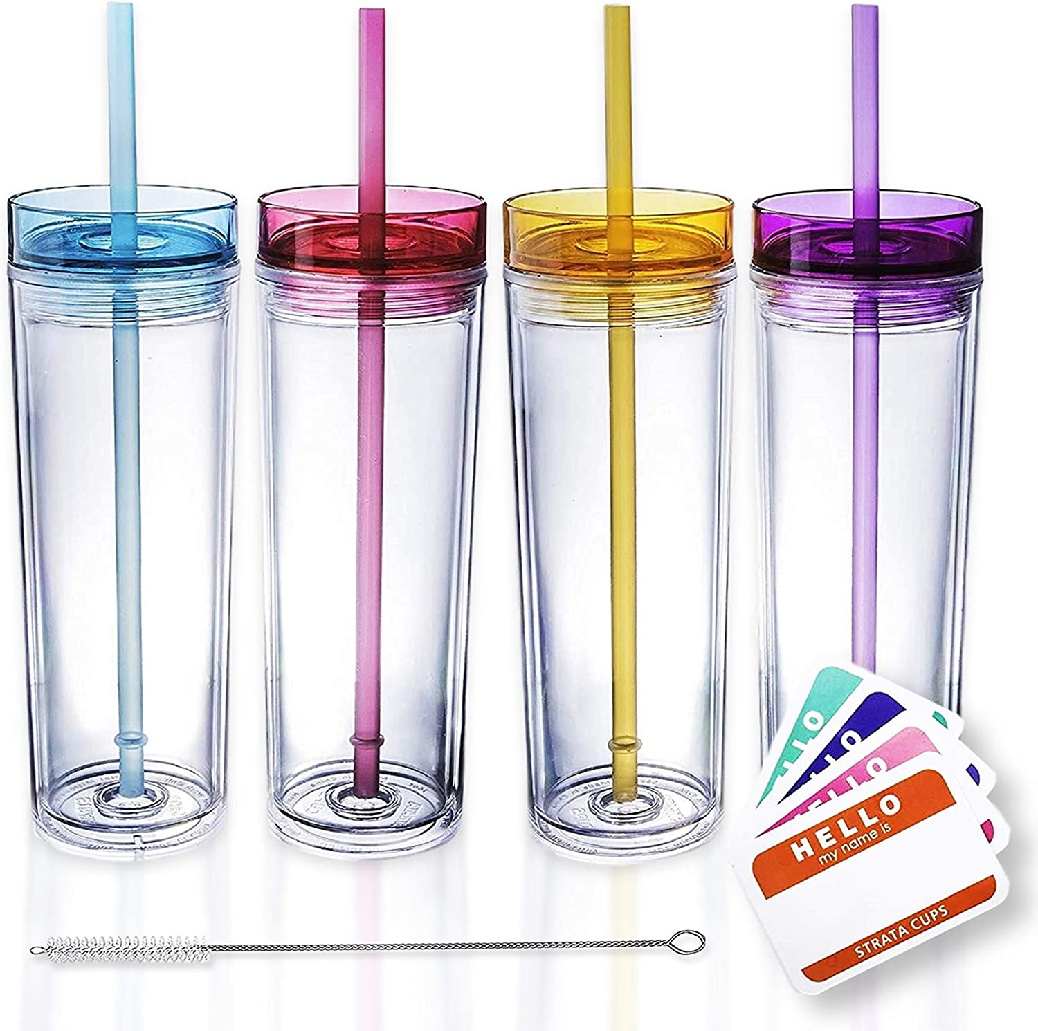 Free shipping on posting reviews SKINNY Courier shipping free TUMBLERS 4 Colored Acrylic with Tumblers Lids Straws and