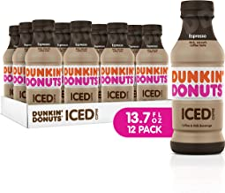 Dunkin Donuts Iced Coffee, Espresso, 13.7 Fluid Ounce (Pack of 12)