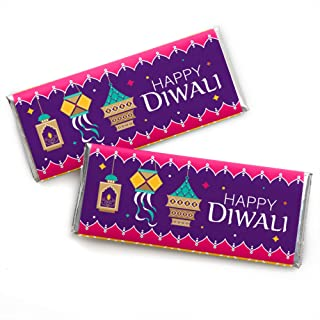 Big Dot of Happiness Happy Diwali - Candy Bar Wrapper Festival of Lights Party Favors - Set of 24