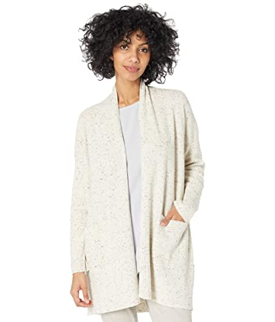 Eileen Fisher Organic Cotton Speckle High Collar Cardigan (Ecru) Women