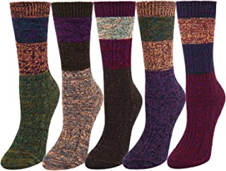 Women's Girls Colorful Cotton Knit Vintage Fall Winter Boot Crew Socks