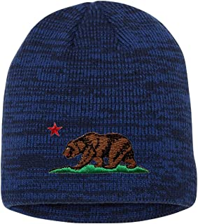 b9358e022e5 Go All Out Adult California Republic Bear Embroidered Marled Knit Beanie Cap