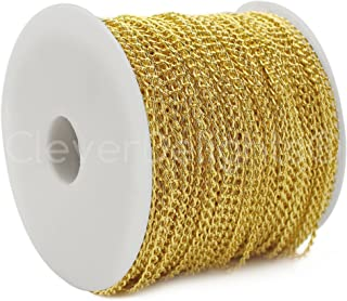 CleverDelights Curb Chain Spool - 3x5mm Link - Gold Color - 330 Feet - Bulk Jewelry Chain Roll