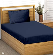 """Trance Home Linen 100% Cotton 210TC Satin Strip Single Fitted Bedsheet 78"""" * 36"""" with 1 Pillow Cover-Dark Blue"""