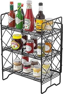 G.a HOMEFAVOR Range épice- Porte Épice 3 étages en métal, Étagère à épices Étagère de Rangement pour Cuisine, Salle de Bai...