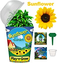 Children's Organic Plant Kit - Sunflower Window Garden - Complete Indoor Grow Set - Seeds, Soil, Planter, Greenhouse Dome, Water Tray & Cup, Growing Guide, Diary. Unique Educational DIY Kid's Gift.
