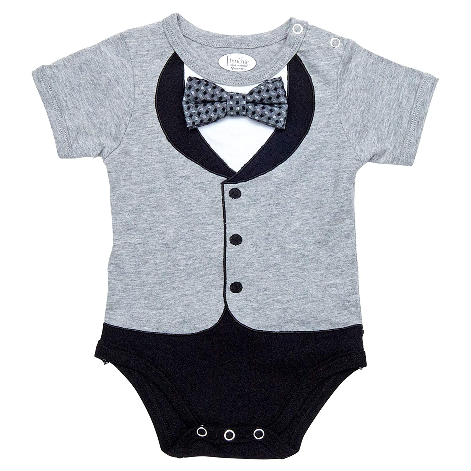 Baby Boys' Tuxedos, 100% Cotton Grey Tux with Grey Pattern Bowtie, 12 Months