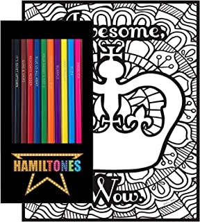 Hamiltones Colored Pencils/Pages Gift Set. 12 Broadway Musical Themed Pencils and Pack of 4 Coloring Pages