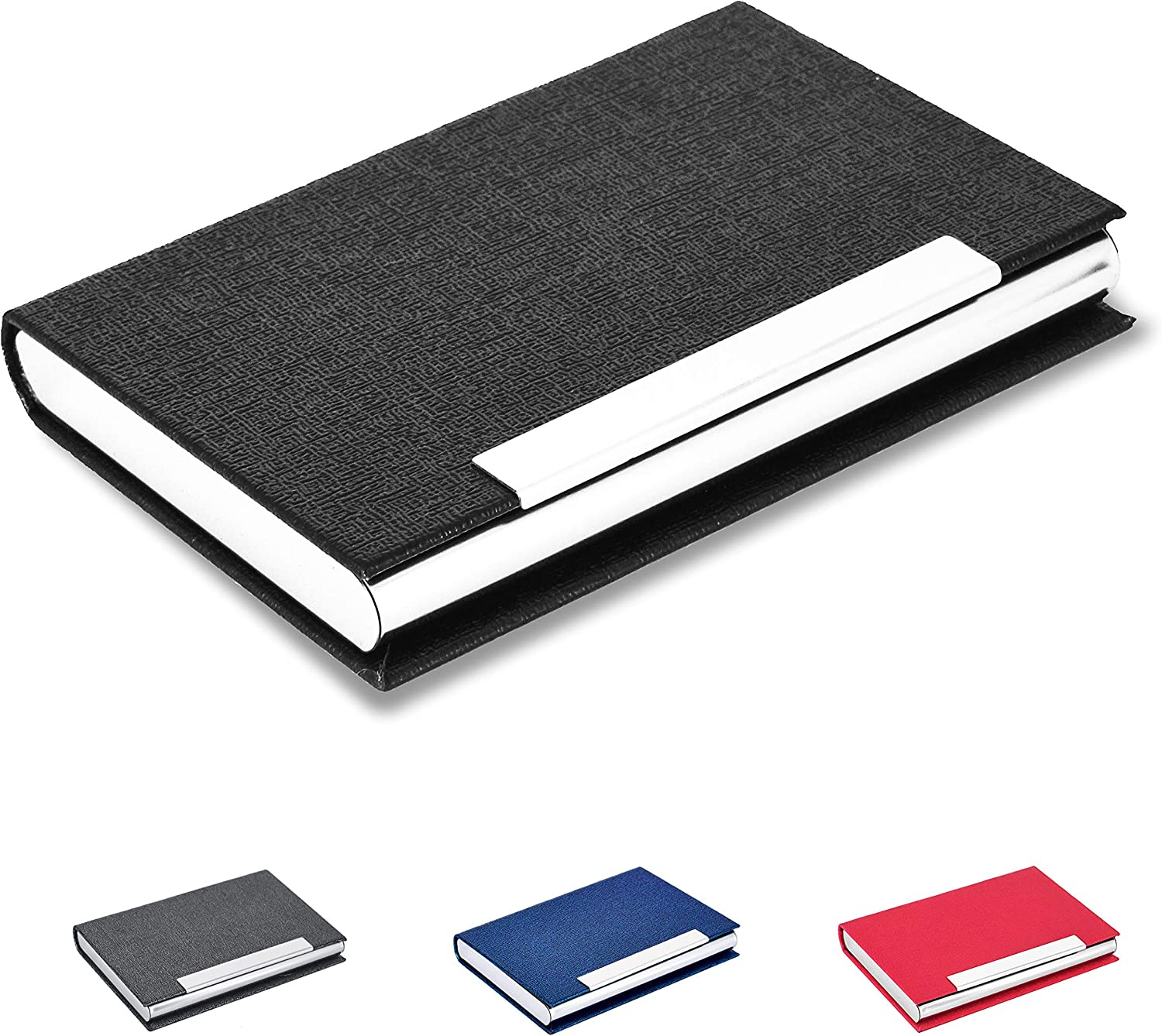MaxGear Business Card Holder Business Card Case PU Leather and Stainless Steel Card Holder for Men and Women with Magnetic Shut Keep Business Cards Clean,Black