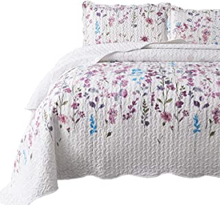 Bedsure Queen/Full Size (90x96 inches) 3-Piece Quilt Set Coverlet, Lilac Flower Pattern, Lightweight Design for Spring and Summer, 1 Quilt and 2 Pillow Shams