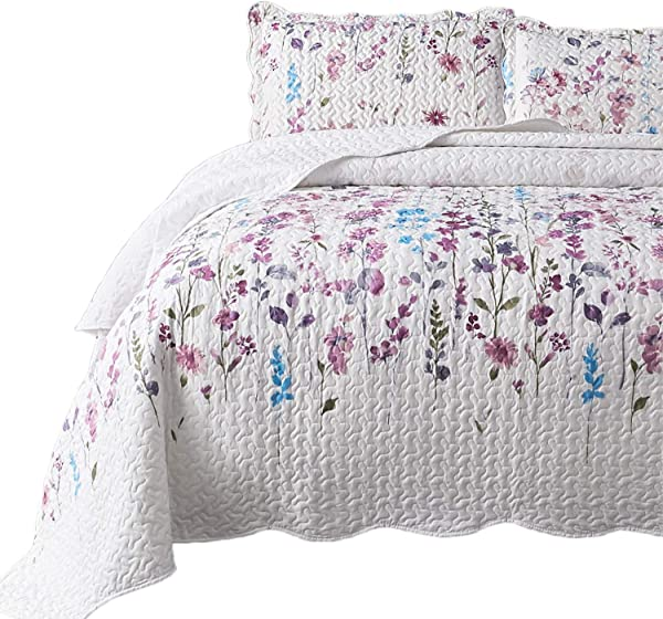Bedsure Queen Full Size 90x96 Inches 3 Piece Quilt Set Coverlet Lilac Flower Pattern Lightweight Design For Spring And Summer 1 Quilt And 2 Pillow Shams