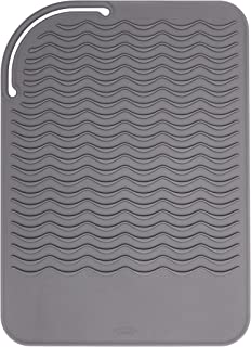 OXO Good Grips Heat Resistant Silicone Travel Pouch for Curling Irons and Flat Irons, Gray Travel Mat Gray