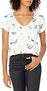 Lucky Brand Women's Short Sleeve Crew Neck Butterfly Tee