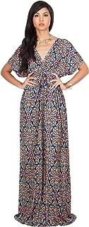 Womens Long Kimono V-Neck Short Sleeve Printed Summer Flowy Maxi Dress