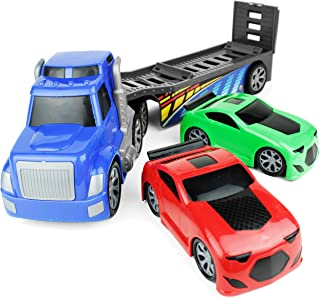 """Boley Giant 26"""" Big Rig Truck Hauler Trailer with 2 Race Cars - Great Kids Truck Carrier Toy for Boys and Girls Who Love Vehicle Sets - Perfect As A Birthday Gift Party, Party Favor, and More!"""
