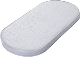 """Big Oshi Baby Bassinet Mattress - 15"""" x 30"""" x 2"""" - Waterproof Exterior - Thick, Soft, Breathable Foam Interior - Oval Shaped, Comfy, Padded Design, Also Fits Portable Bassinets"""