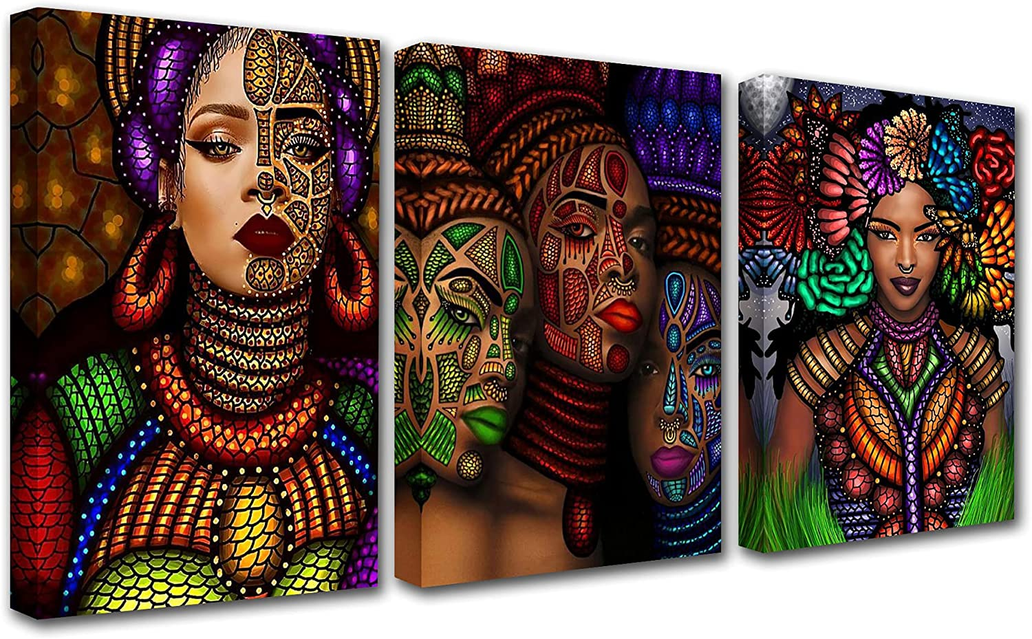 African Women Portrait Canvas Wall Art Living P 3 for Decor Room Discount mail order Price reduction