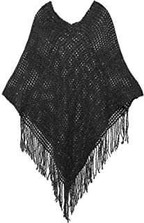 Livingston Women's Soft Cozy Knit Fringed Shawl Wrap w/Sequins