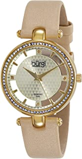 Burgi Women's BUR104 Rose Gold-Tone Diamond and Crystal Black Satin Strap Watch