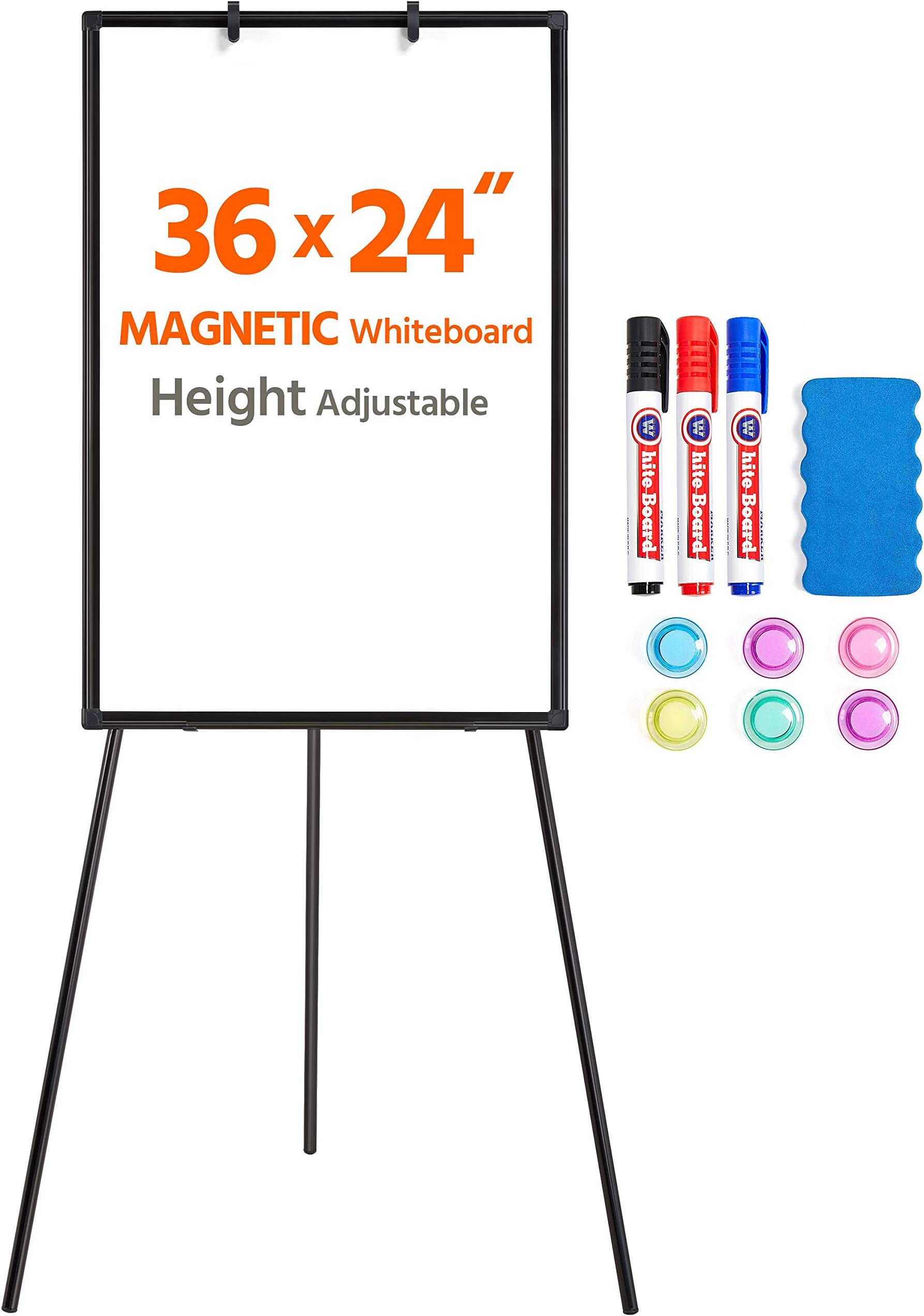 Yaheetech Tripod Magnetic Whiteboard 36 x 24 Dry Erase Board, Portable White Board with Stand White Board Adjustable Height for Office Meeting/ Home Display Whiteboard Tripod, Black