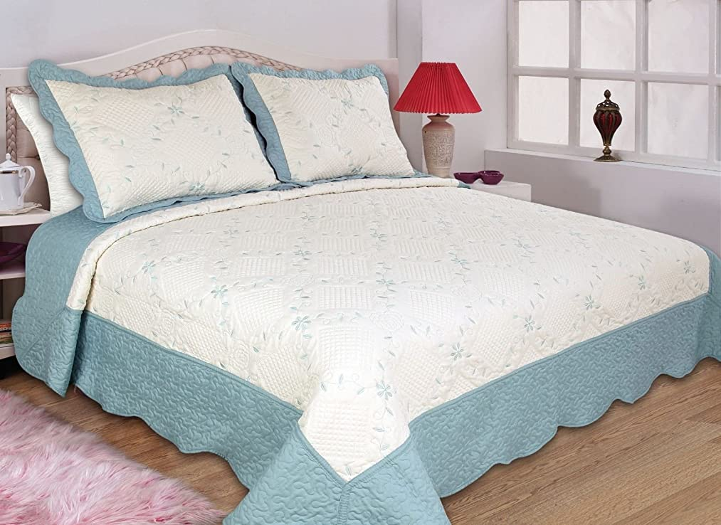 All For you reversible quilt set, bedspread,coverlet-/Blue/Twin
