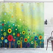 Ambesonne Flower Shower Curtain, Abstractly Shaped Retro Round Seasonal Blooms Floret Petal Cloudy Botany Scenery Print, Cloth Fabric Bathroom Decor Set with Hooks, 75