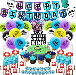 DMight Birthday Party Supplies for Game Fans, 123 Pcs Party Favors - Cake Topper, Bottle Label, Chocolate Sticker, Latex Balloon, Foil Balloon, Roll Paper Sticker, Banner