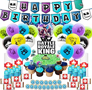 DMight Birthday Party Supplies for Game Fans,Video Game Party Decoration,121 Pcs Party Favors - Cake Topper, Bottle Label, Chocolate Sticker, Latex Balloon, Foil Balloon, Roll Paper Sticker, Banner
