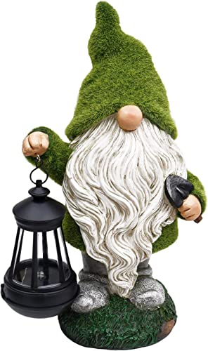 TERESA'S COLLECTIONS Flocked Garden Gnome Decorations with Solar Lights, Large Garden Statue and Sculpture with Lante...