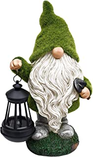 TERESA'S COLLECTIONS Flocked Garden Gnome Statue, Large Outdoor Gnome with Solar Lights, Funny Garden Figurines for Outdoor Home Yard Decor (13 Inch Tall)