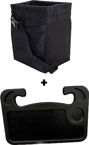 EcoNour Gift Bundle | Hanging Car Trash Bag + Car Steering Wheel Desk (2in1) | Leakproof Litter Basket | Storage Organizer for Car | Multipurpose Traveling Tray | Car Accessories