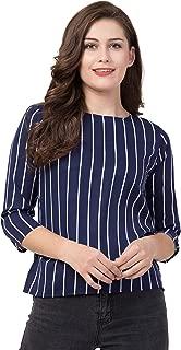 Jollify Women's Printed 3/4 Sleev Casual top(Blue)