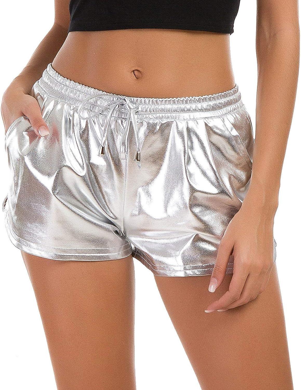 Verochic Women's Yoga Hot Pants with SALENEW very popular! Elast Metallic Shorts Classic Shiny