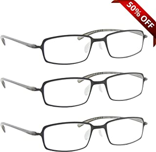 Reading Glasses Best 3 Pack Gray for Men and Women Have a Stylish Look and Crystal Clear Vision When You Need It! Comfort Flex Arms & Dura-Tight Screws 100% Guarantee +2.75