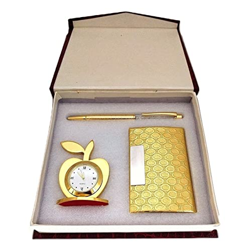 Crownlit 3 In 1 Apple Shape Clock Card Holder With Premium Metal Pen For Gifting