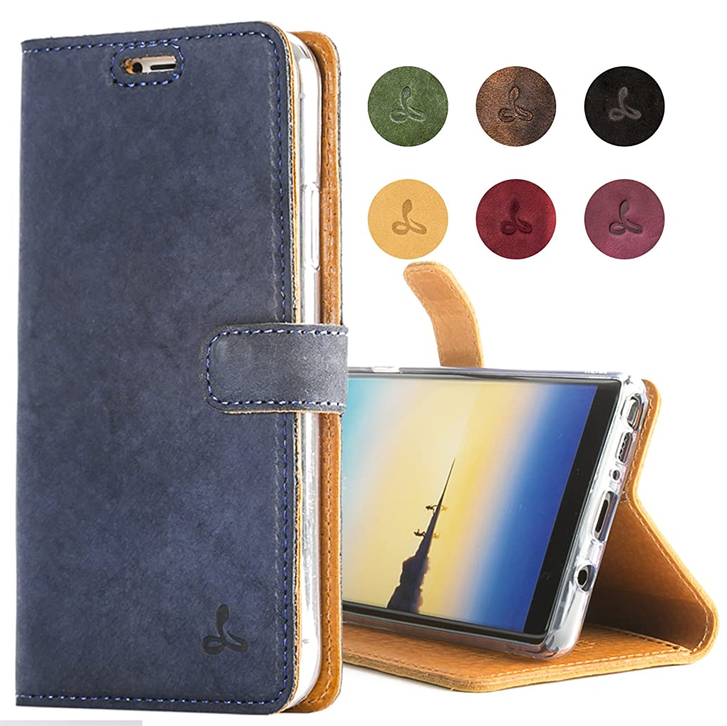 SnakeHive Samsung Galaxy Note 8 Case, Genuine Leather Wallet with Viewing Stand and Card Slots, Flip Cover Gift Boxed and Handmade in Europe for Samsung Galaxy Note 8 - Navy Blue