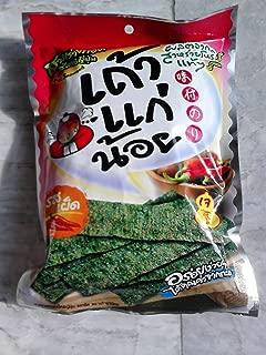 Crispy Fried Seaweed Tao Kae Noi, Pack 36g., Hot Flavor (Pack of 6)
