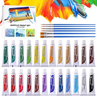 24 Colors Acrylic Paint Set, Upgrade Painting Supplies Set for Kids Beginners and Students, Premium Pigments for Canvas/Wo...