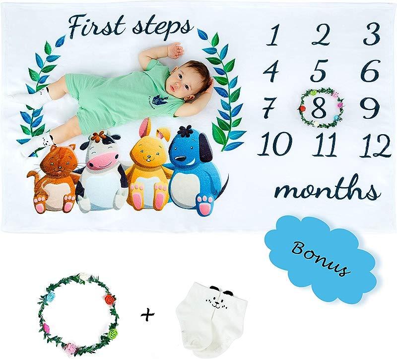 Baby Monthly Milestone Blanket Gift Set And Photo Props Garland Custom Ribbon Card Package Cartoon Baby Socks EVA Storage Bag Gender Neutral Boy Girl
