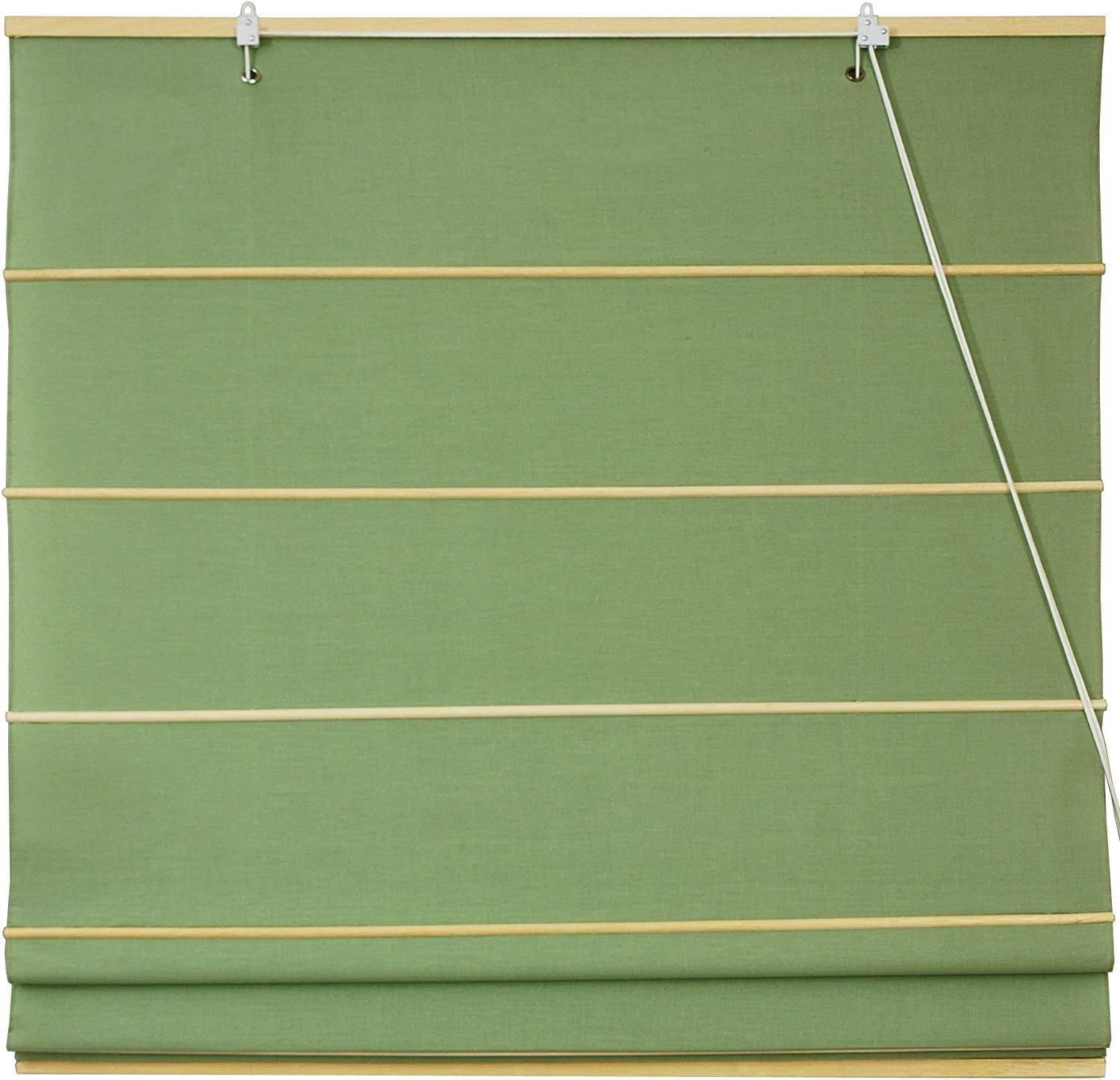 Oriental Furniture Cotton Roman Window Shades, Light Green, 36-Inch