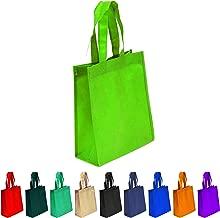 10 Pack Lime Green Reusable Tote Bags, Heavy Duty Non-woven Polypropylene, Small Gift Tote Bag, Book Bag, Non Woven Bag Multipurpose Art Craft Screen Print School Bag (Lime Green, Set of 10)