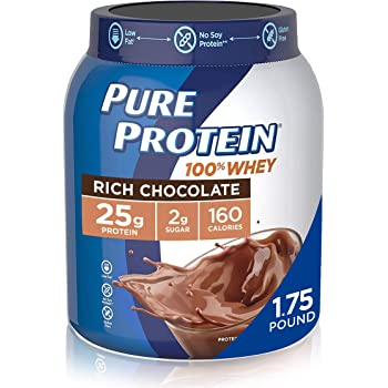 Whey Protein Powder by Pure Protein, Gluten Free, Rich Chocolate, 1.75lbs