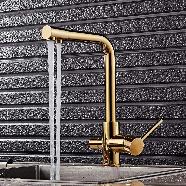 YHSGY Kitchen Taps gold color 3 Way Water Filter Tap Three Way Sink Mixer 3 Way Kitchen Faucet 360 redating Kitchen Sink Mixer