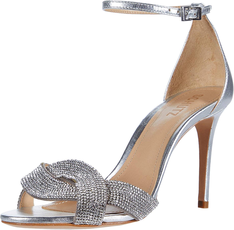 SCHUTZ Jolita High Heel Sandals Platina Open Toe High Heel Rhinestone Pump