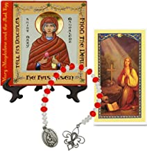 Mary Magdalene and The Red Egg Patroness of Women Porcelain Tile Plaque Byzantine Style Includes a Blessed Prayer Card and a Czech Crystal Beads Chaplet