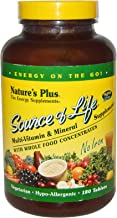 NaturesPlus Source of Life No Iron Tablets - 180 Vegetarian Tablets - Whole Food Multivitamin & Mineral Supplement, Energy...
