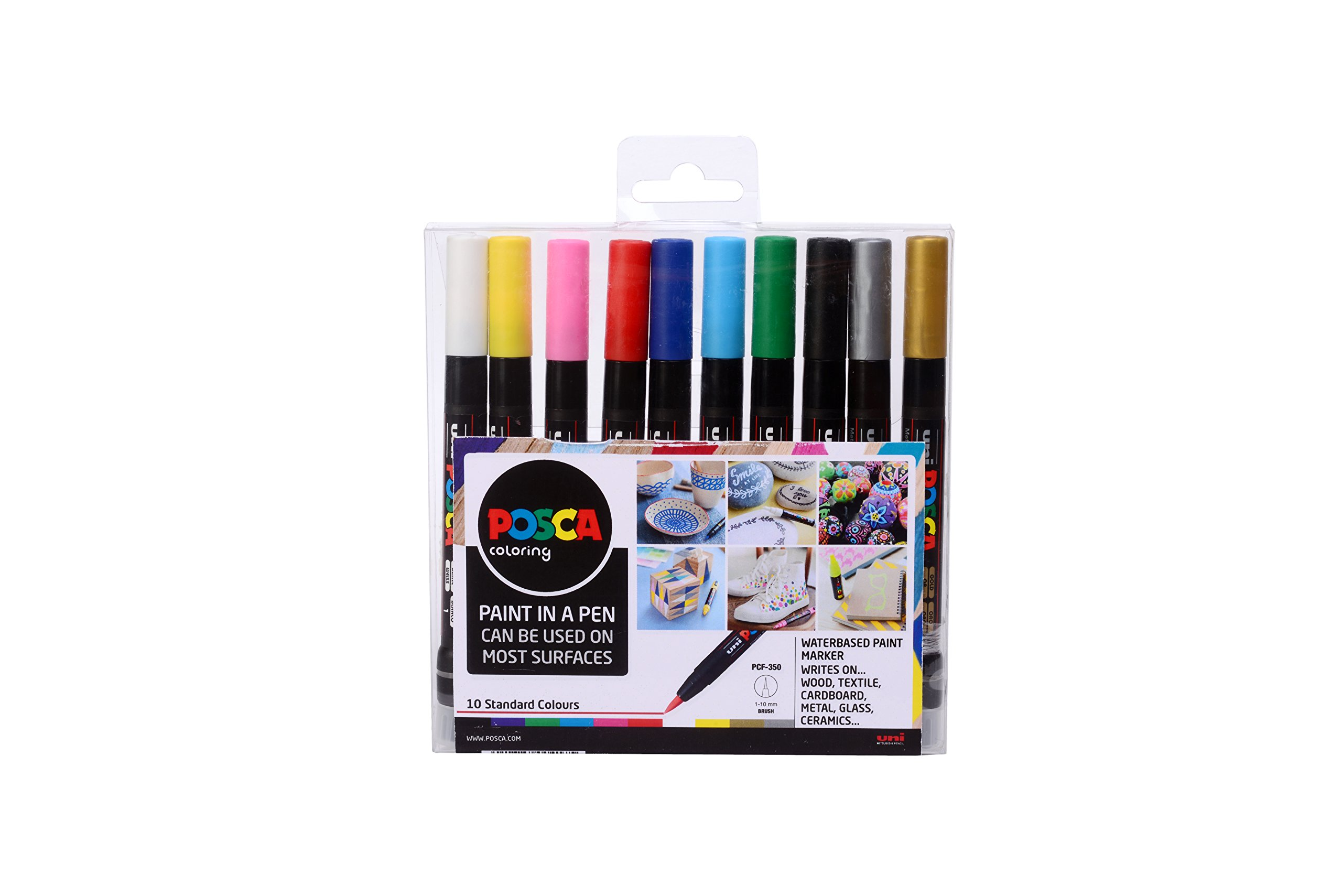 Uni Posca PCF-350 Red Paint Marker Pen Metal Glass Plastic 0.1-10mm Brush Nib