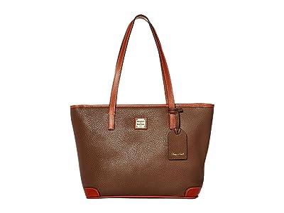 Dooney & Bourke Pebble Charleston Shopper (Mushroom/Tan Trim) Tote Handbags