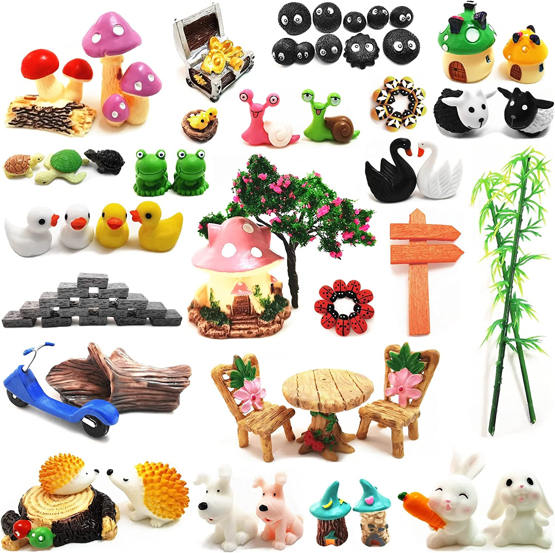 HYG Selected 99pc Fairy Garden Accessories, Miniature Fairy Garden Decoration Figurines Kits, Fairy Garden Dollhouse and Animals, Micro Landscape Ornaments Kit, Briquettes Figurines Sets